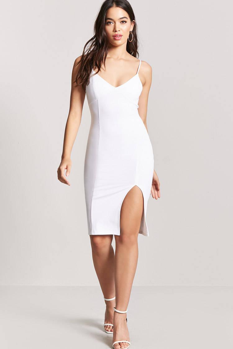 Lyst - Forever 21 V-neck Bodycon Dress in White - photo #23
