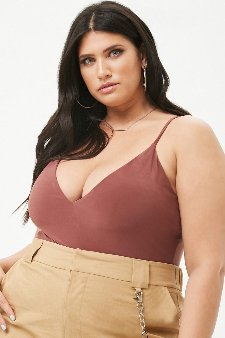 76a921660f Forever 21 Plus Size V-neck Cami Bodysuit in Brown - Lyst