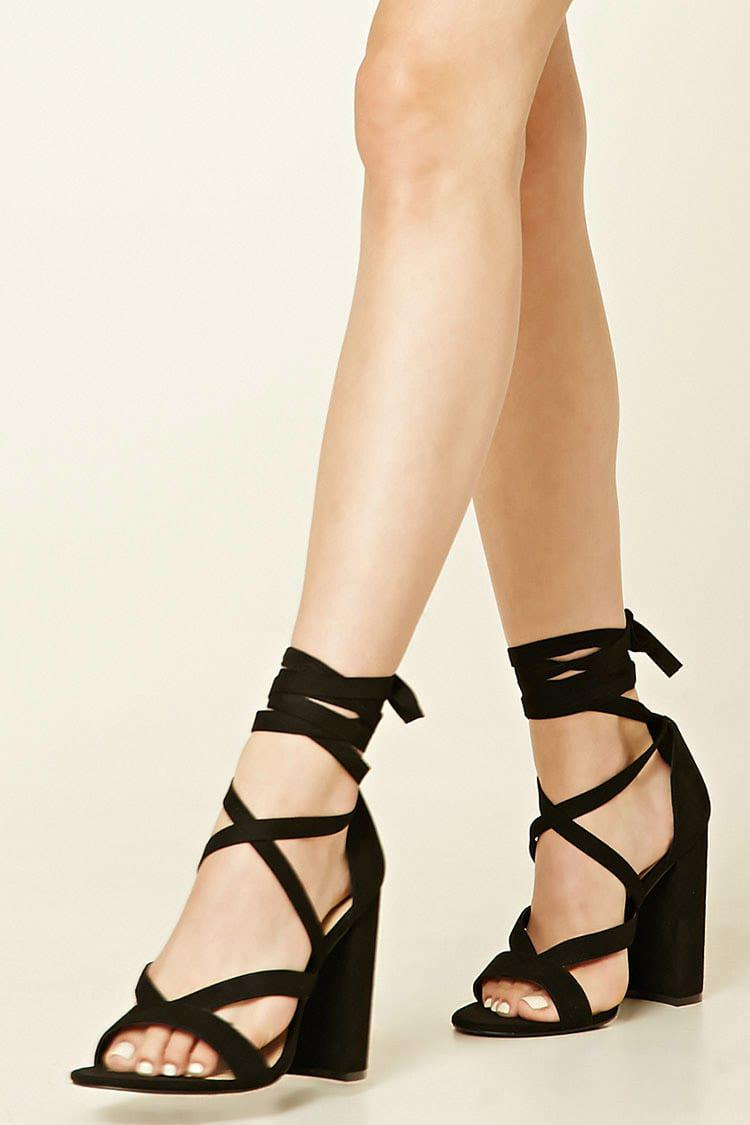 Forever 21 Strappy Faux Suede Heels in