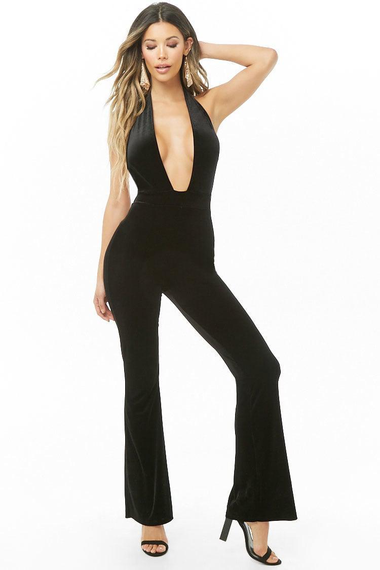 0368e269faa Lyst - Forever 21 Velvet Halter Jumpsuit in Black