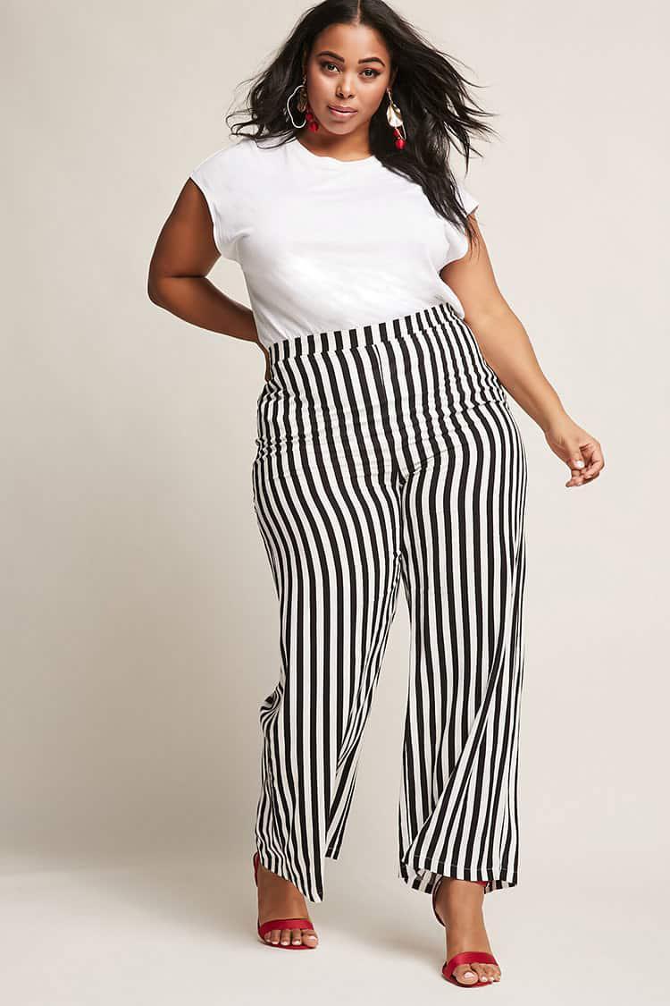 de32ea30d85 Forever 21 Plus Size Stripe Palazzo Pants in Black - Lyst