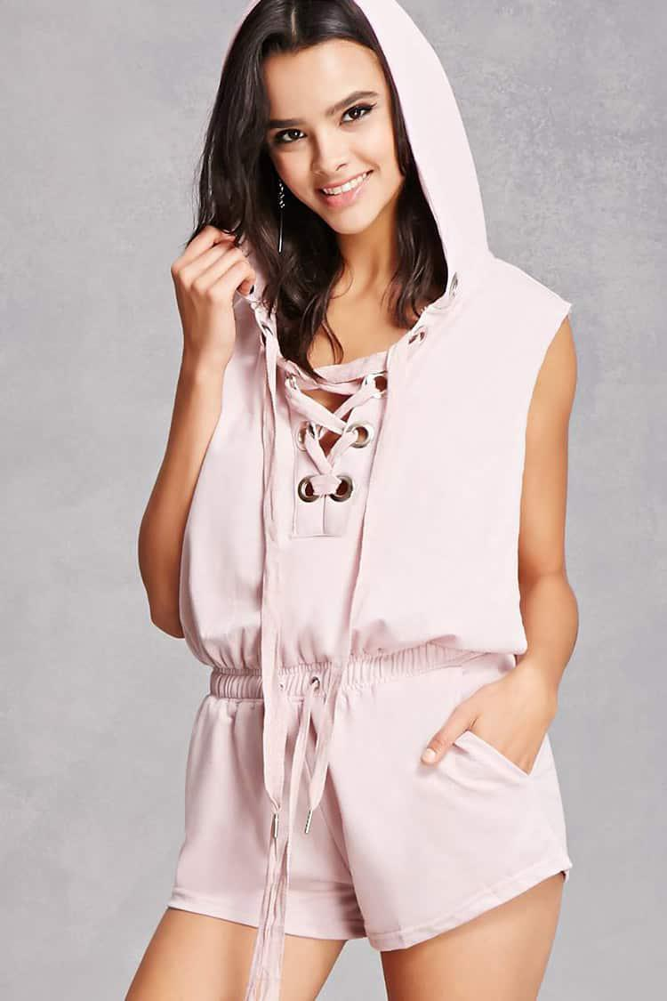 d9c8d14e868 Lyst - Forever 21 French Terry Knit Hooded Romper in Pink