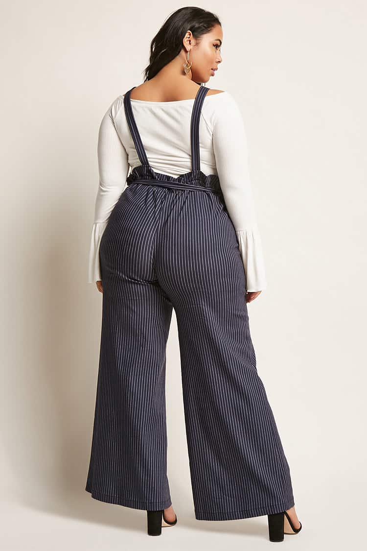 e0f3fadccfe8 Forever 21 Plus Size Pinstripe Suspender Jumpsuit in Blue - Lyst