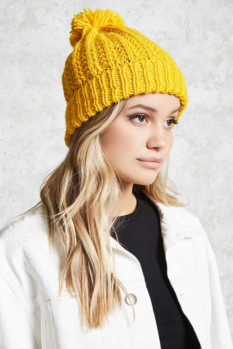 Lyst - Forever 21 Ribbed Pom-pom Beanie in Yellow d9162853640
