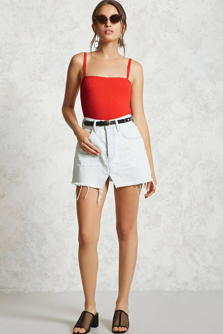 2f7f4803b54 Forever 21 Red Ribbed Knit Cami Bodysuit