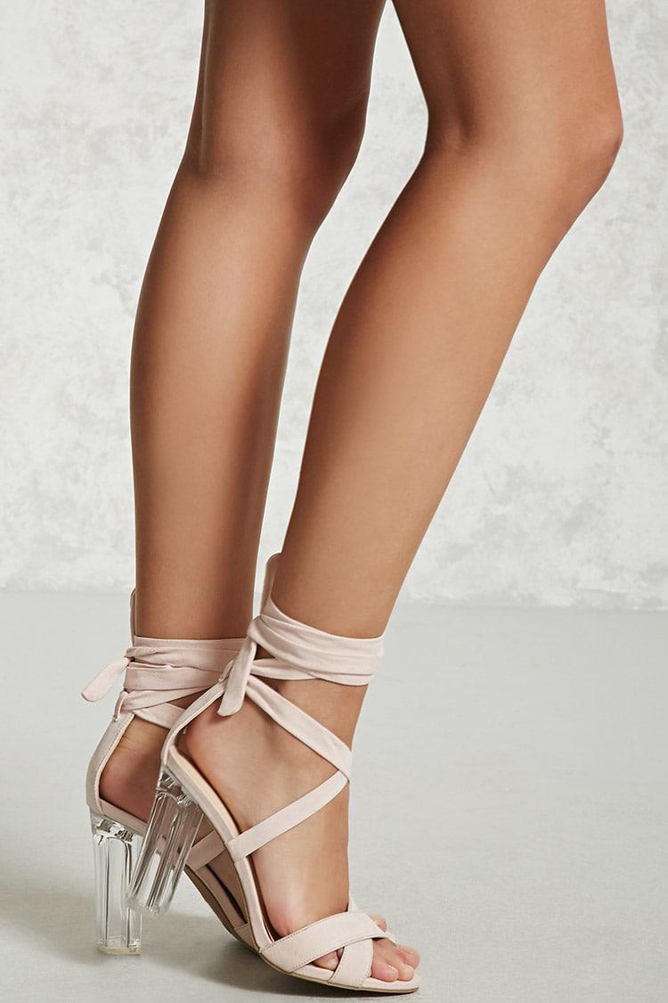 Lyst - Forever 21 Lace-up Lucite Chunky Heels in Pink