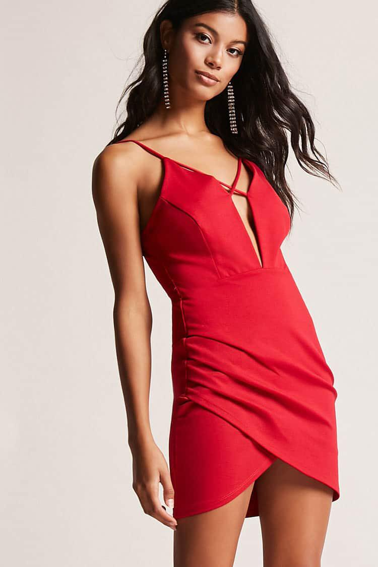 Lyst - Forever 21 Ruched Bodycon Dress in Red - photo #23