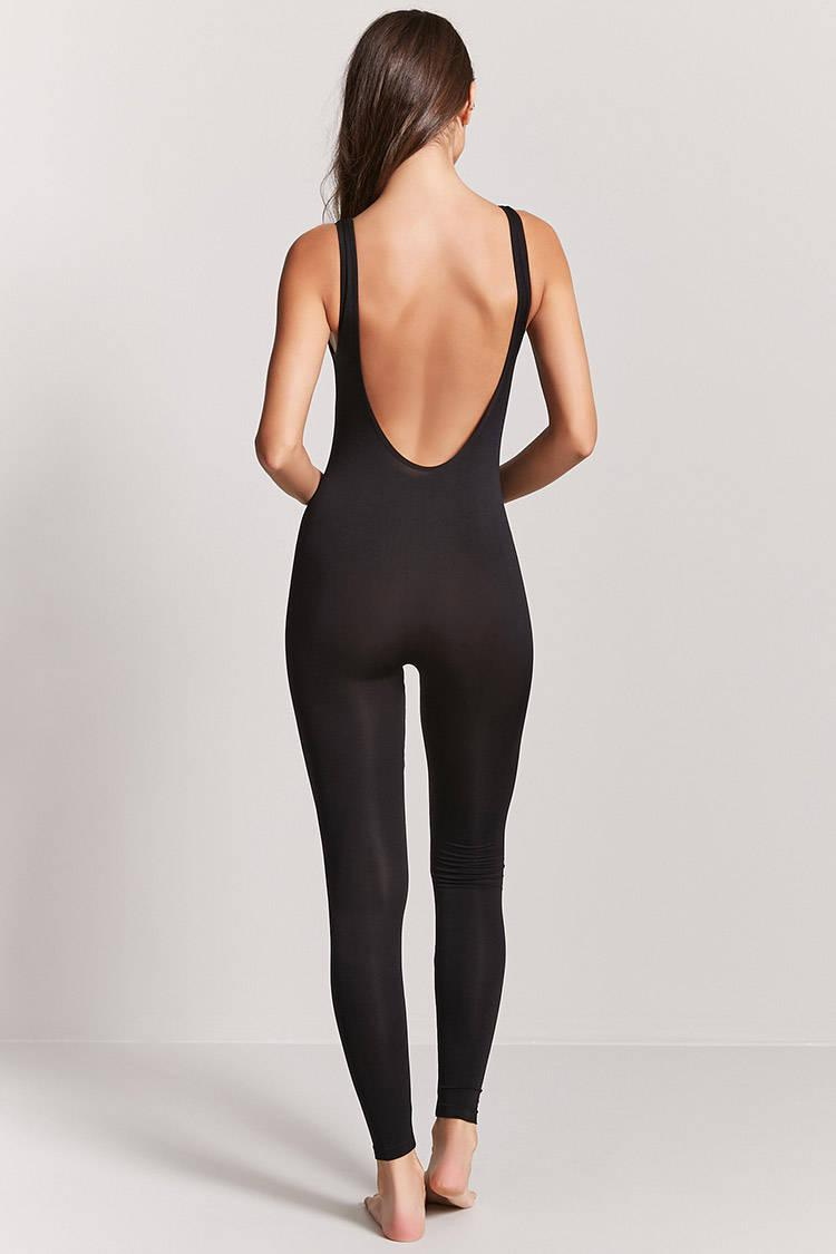 Forever 21 Synthetic Seamless Unitard Jumpsuit in Black - Lyst