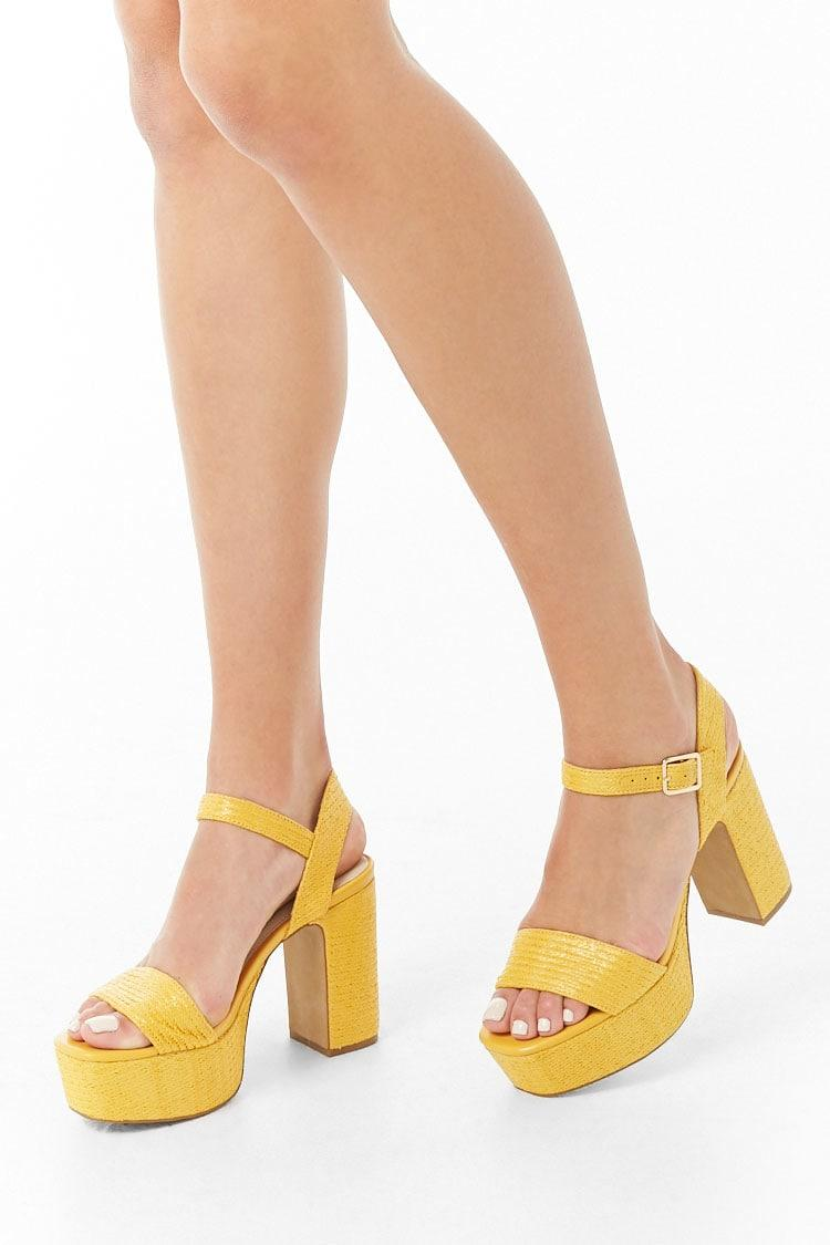 d13f4b9c4d6 Lyst - Forever 21 Chunky Platform Heels in Yellow
