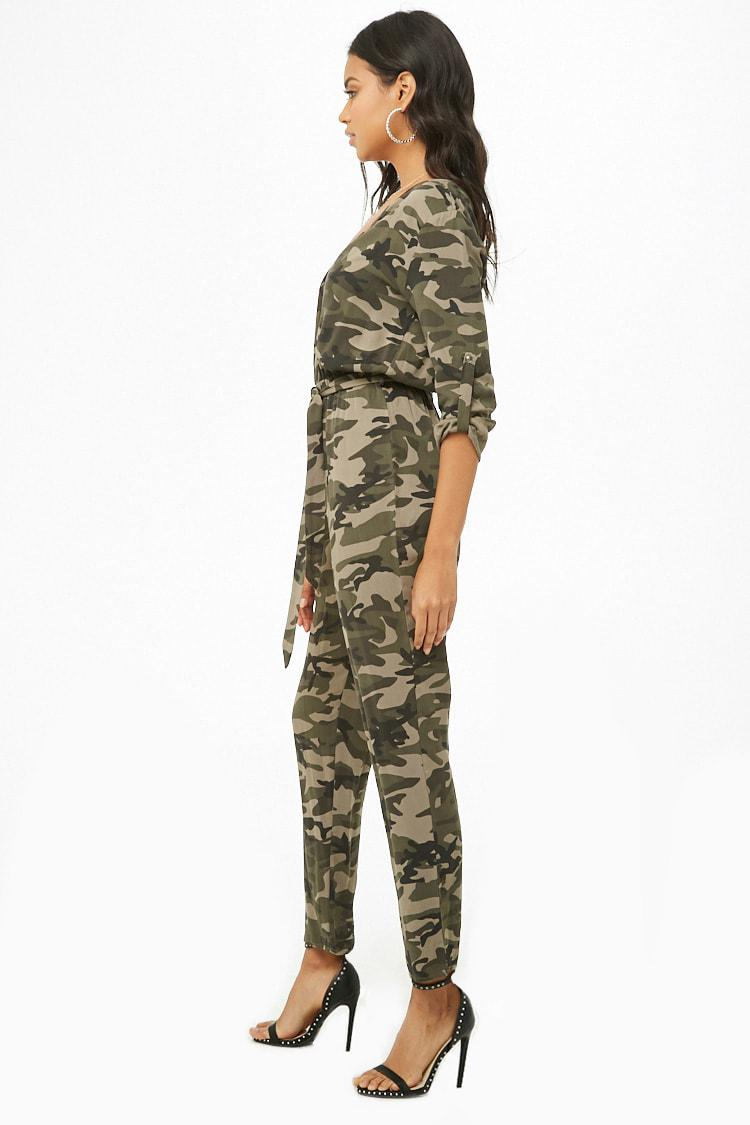 Lyst Forever 21 Camo Print Jumpsuit In Green