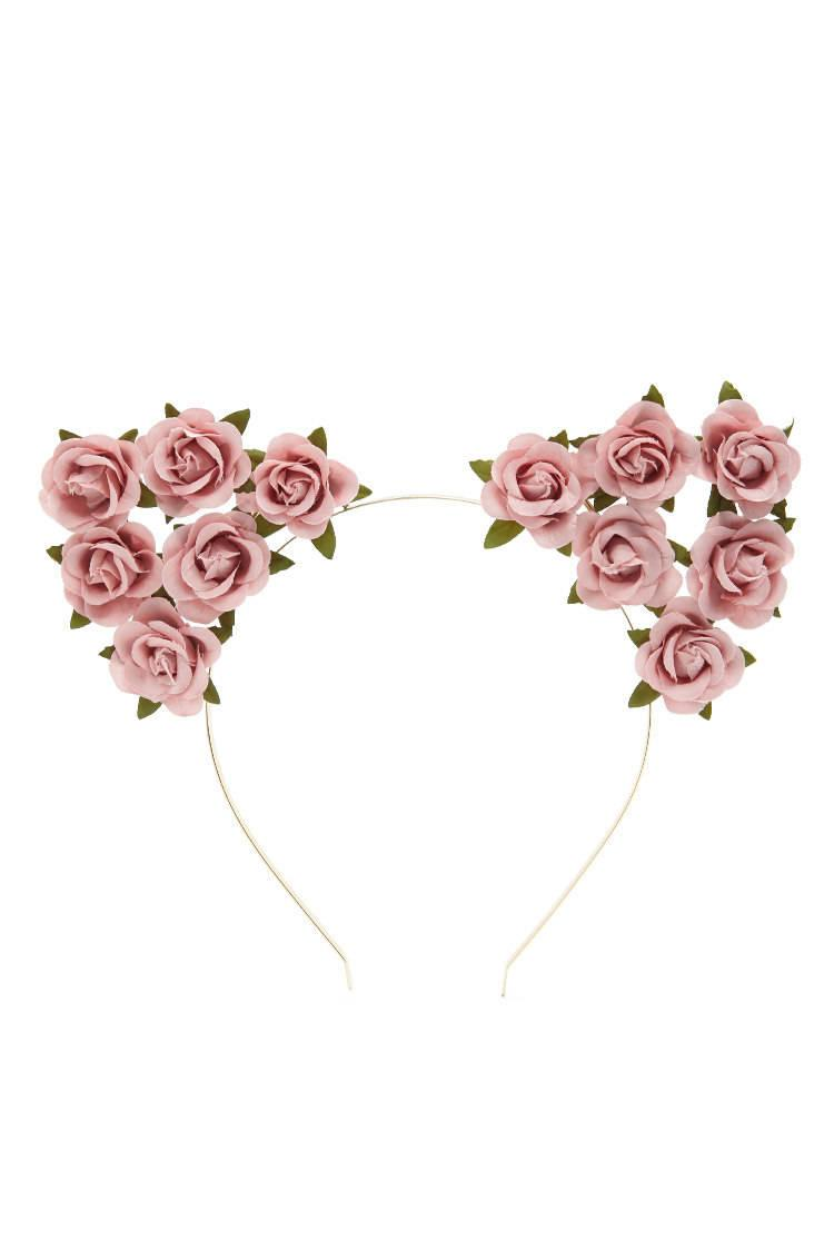 Lyst - Forever 21 Floral Cat-ears Headband in Pink fe48639beb0
