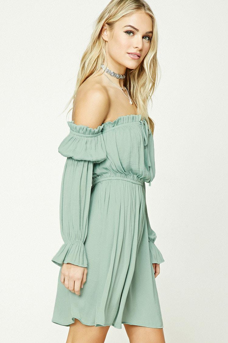 2ee94827181 Lyst - Forever 21 Contemporary Satin Dress in Green