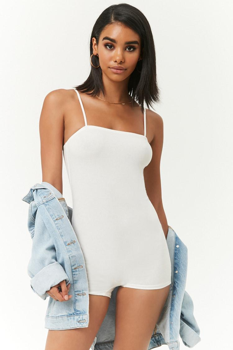 aac90b1aaeb180 Lyst - Forever 21 Form-fitting Cami Romper in White