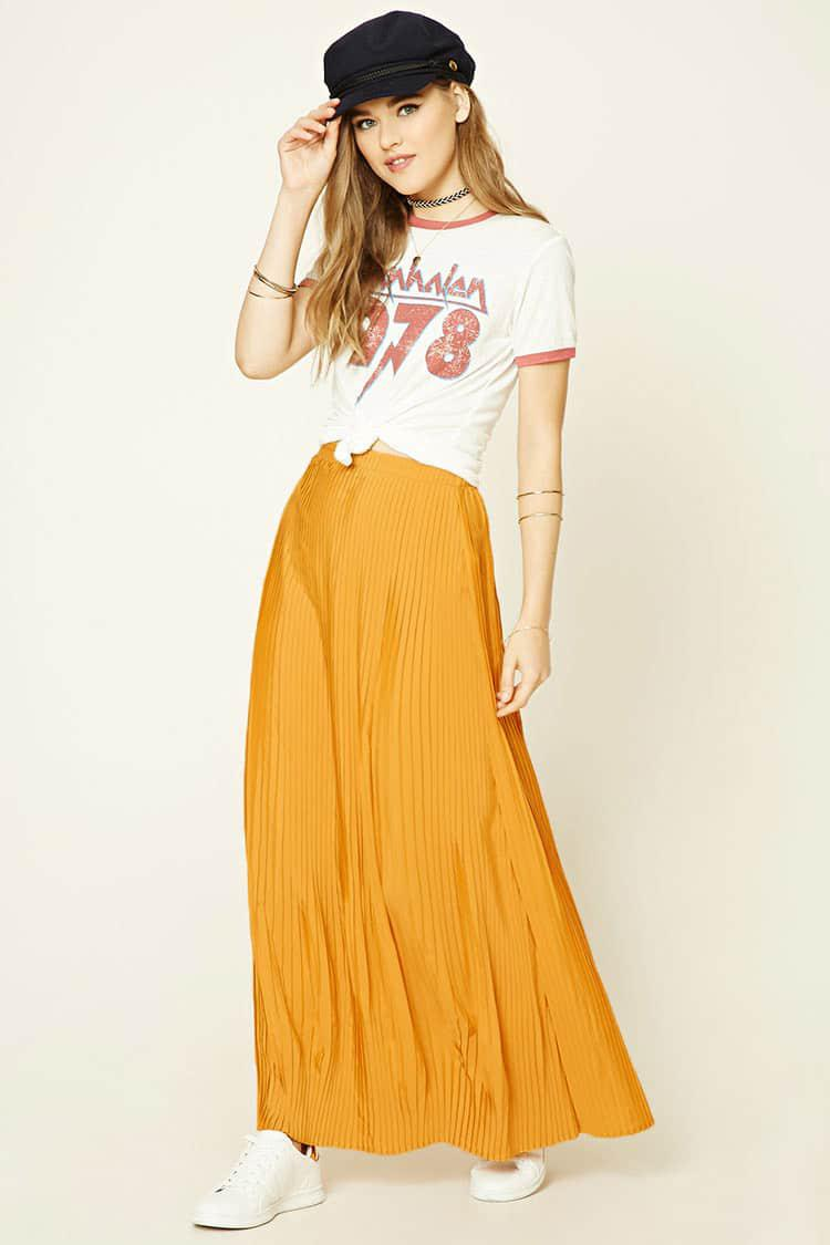4b20f6aac11 Forever 21 Accordion-pleated Maxi Skirt in Yellow - Lyst