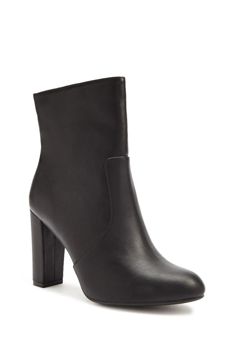 40e2fbb670e Lyst - Forever 21 Faux Leather Ankle Boots in Black