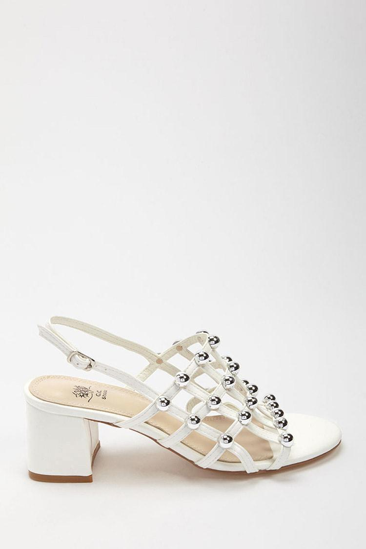 a72c0cfdb8e Lyst - Forever 21 Studded Caged Sandals in White