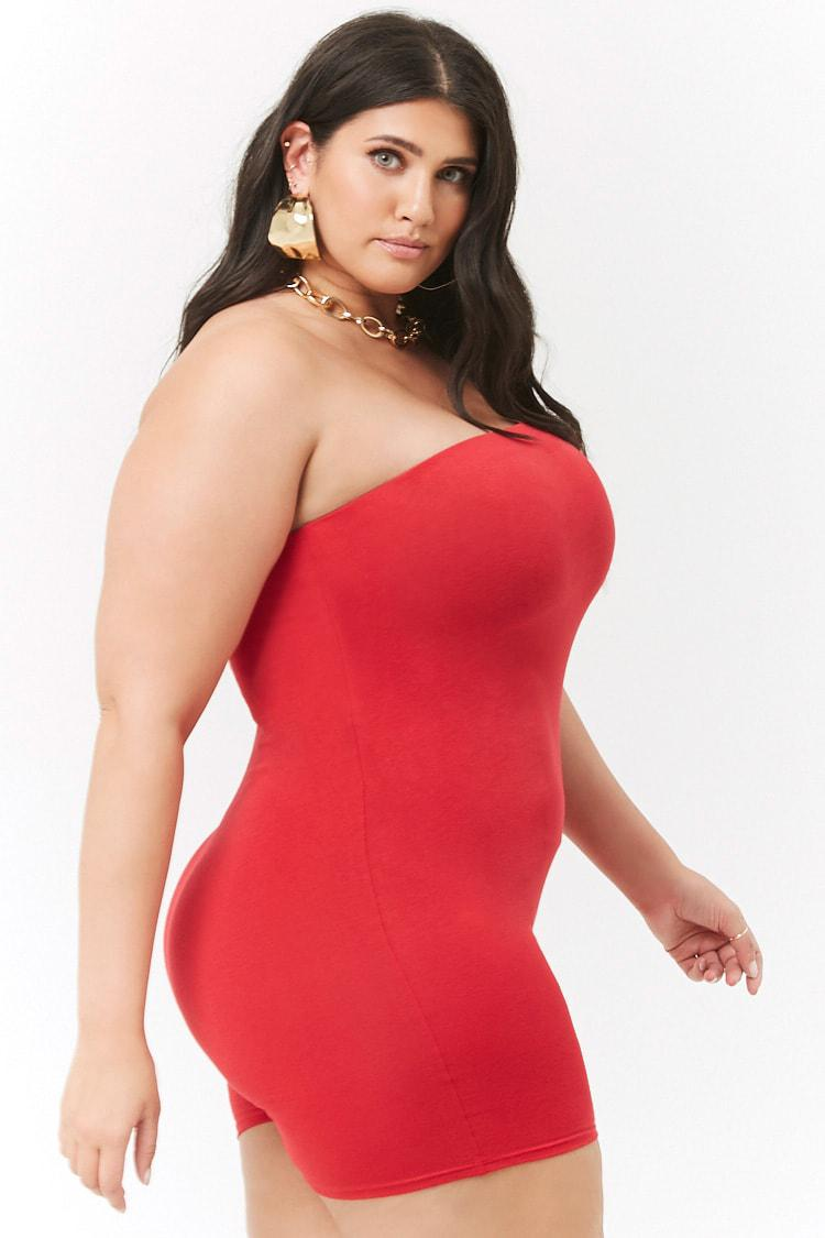 248ebd2ec20 Forever 21 Women s Plus Size Tube Romper in Red - Lyst