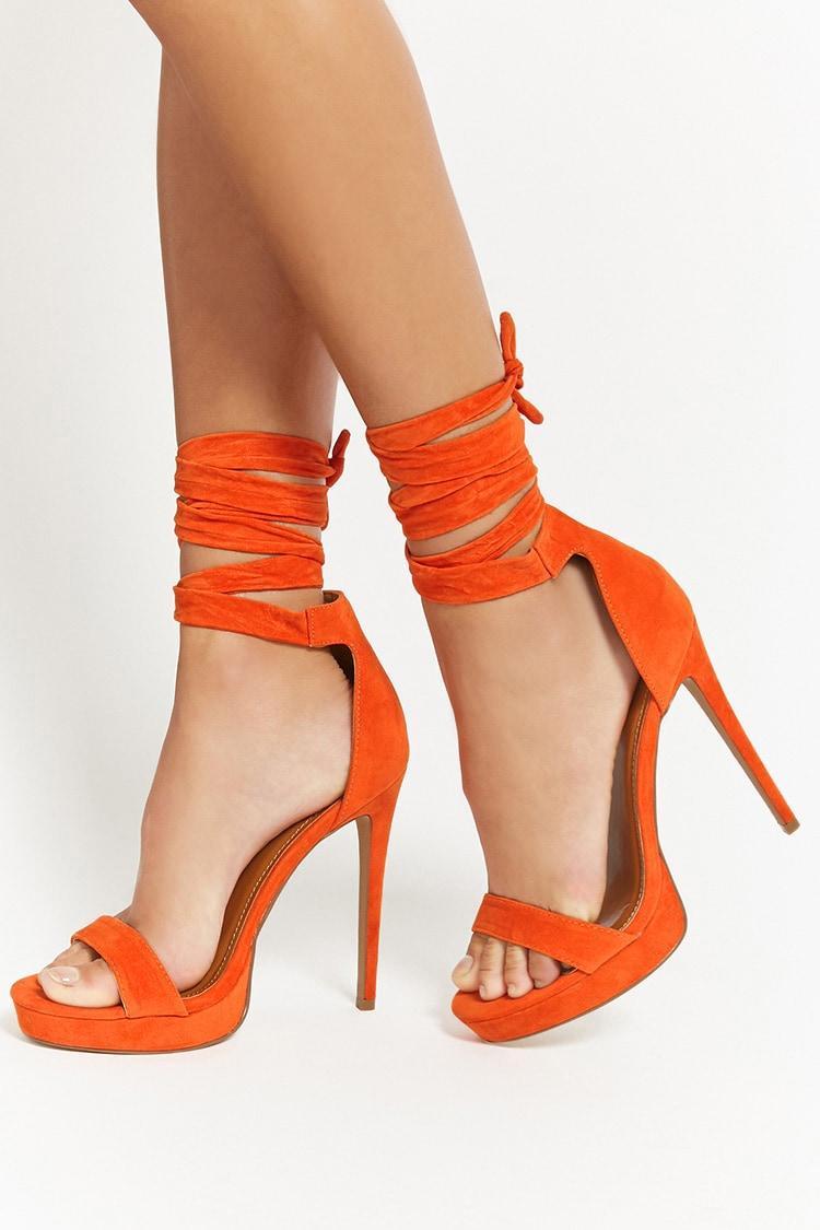 43c4adb405ebc Forever 21 Shoe Republic Lace-up Heels in Orange - Lyst