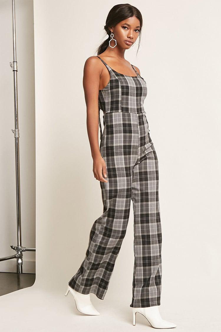 100545a3a89d Lyst - Forever 21 Tartan Plaid Wide-leg Jumpsuit in Black