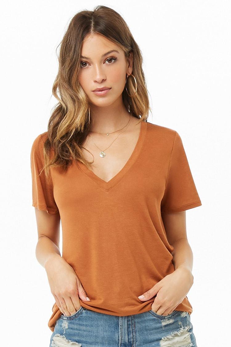 82b14cc3c1b Forever 21 Women s Deep V-neck Tee Shirt - Lyst