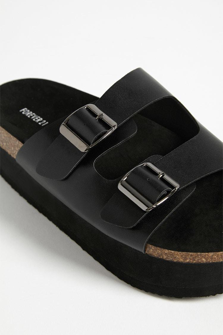 56d297512cca Lyst - Forever 21 Faux Leather Platform Slide Sandals in Black