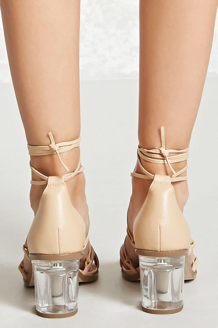ee7aaff7145 Forever 21 Natural Ankle-wrap Lucite Heels