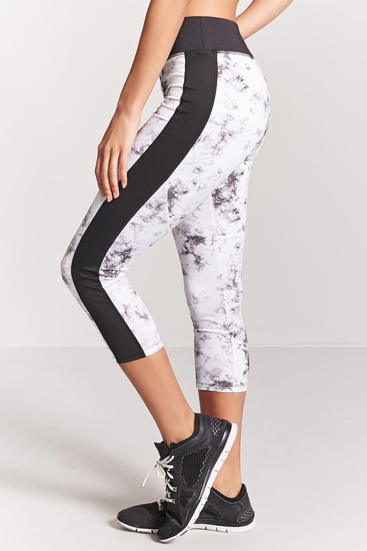 Forever 21 Synthetic Active Marble Leggings In White Black