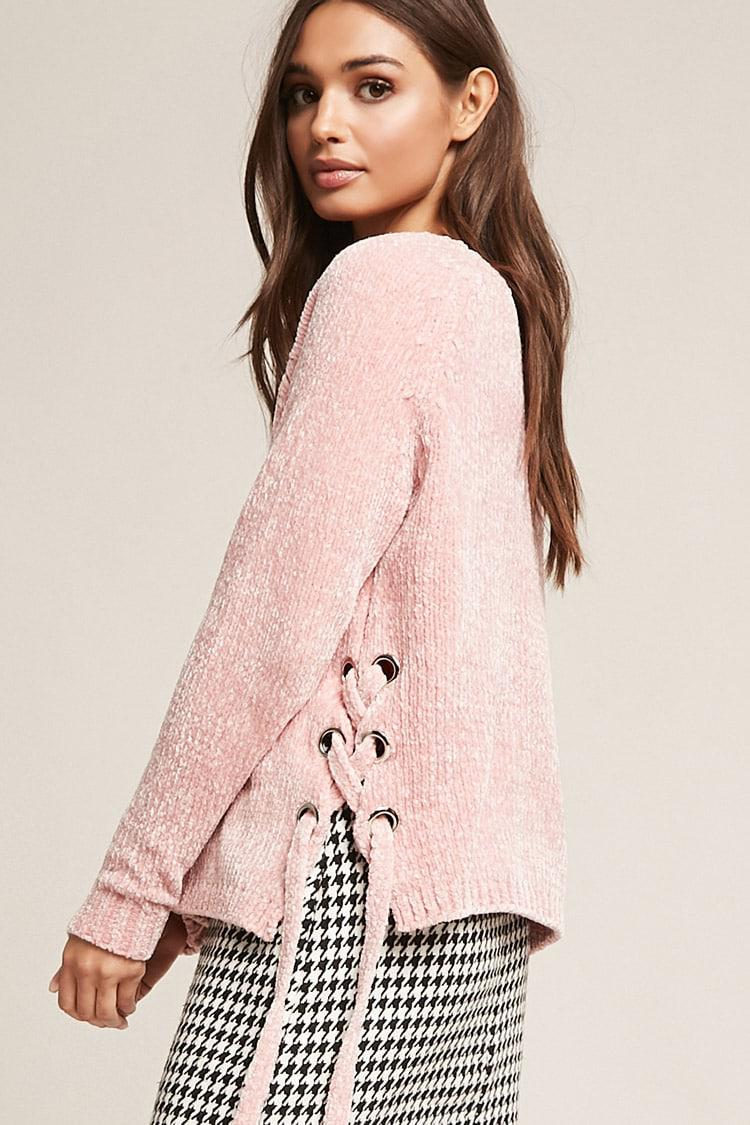 Lyst Forever21 Chenille Knit Lace Up Sweater In Pink