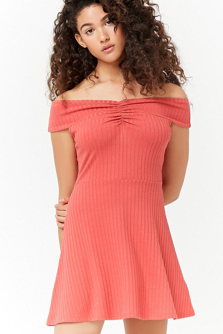Lyst - Forever 21 Women s Ribbed Off-the-shoulder Ruched Swing Dress ... a90c7b03e