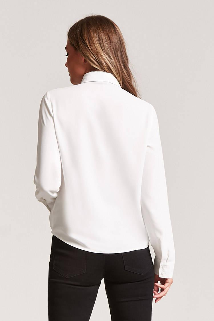 Lyst Forever 21 Contrast Bow Shirt