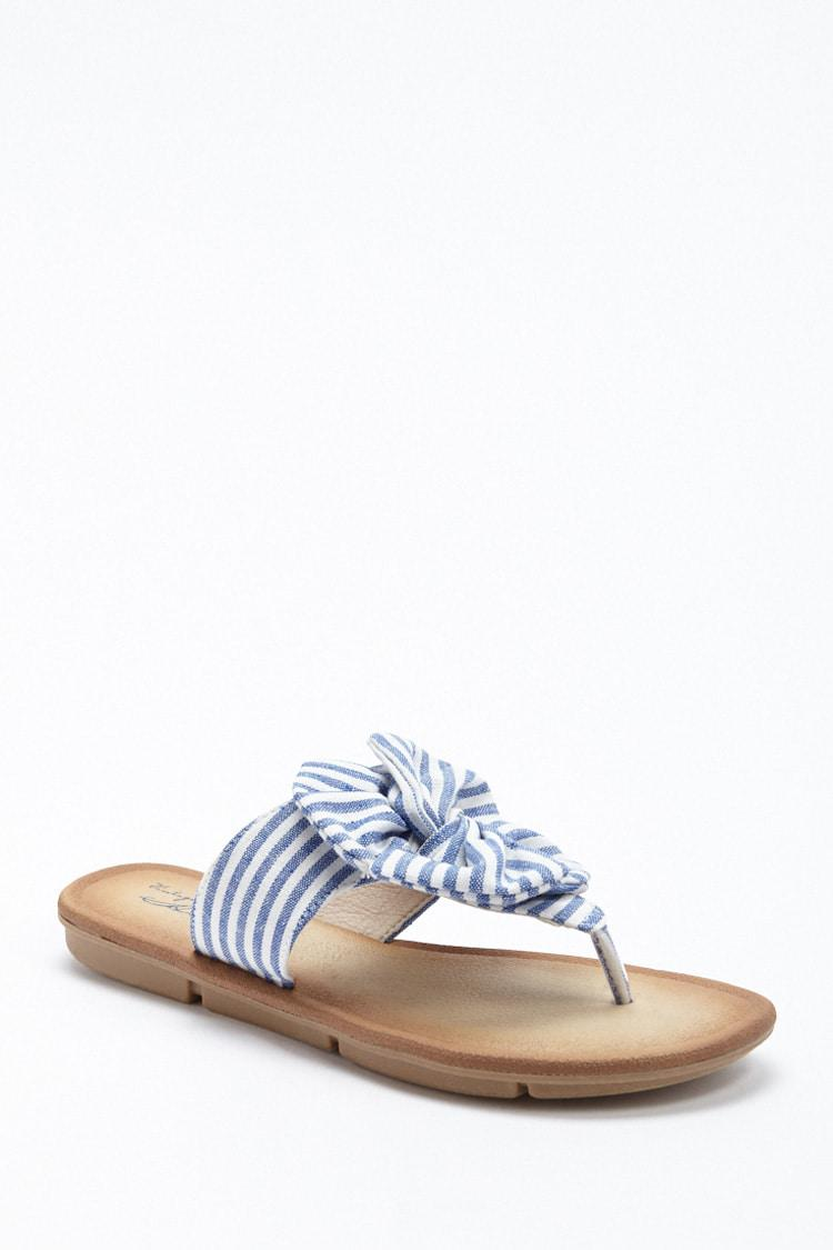 ce9f57f68c3d Lyst - Forever 21 Vintage Havana Striped Flower Thong Sandals in Blue