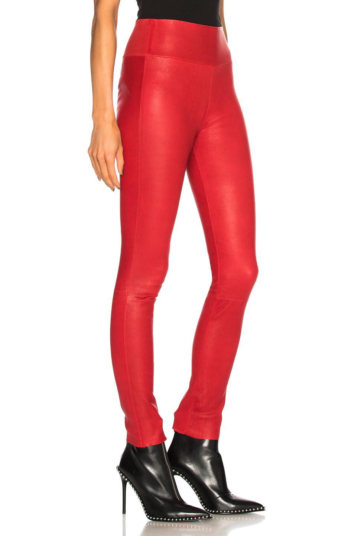 d247e46328847e SPRWMN - Red High Waist Leather Ankle Legging - Lyst. View fullscreen