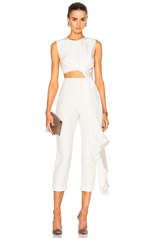 099b9de2c24 Roksanda Bridal Silk   Bonded Crepe Jumpsuit in White - Lyst