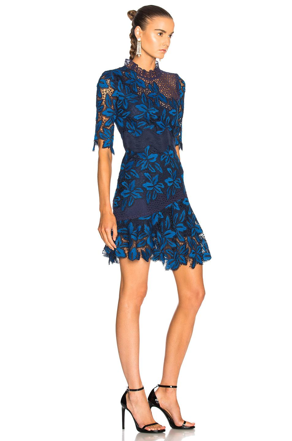 Mixed Lace Dress In Blue Multi