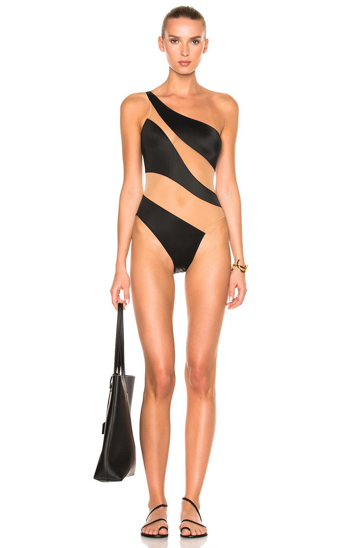 49f3fb38e7 Norma Kamali. Women s Black Snake Mesh One-shoulder High-cut One-piece  Swimsuit