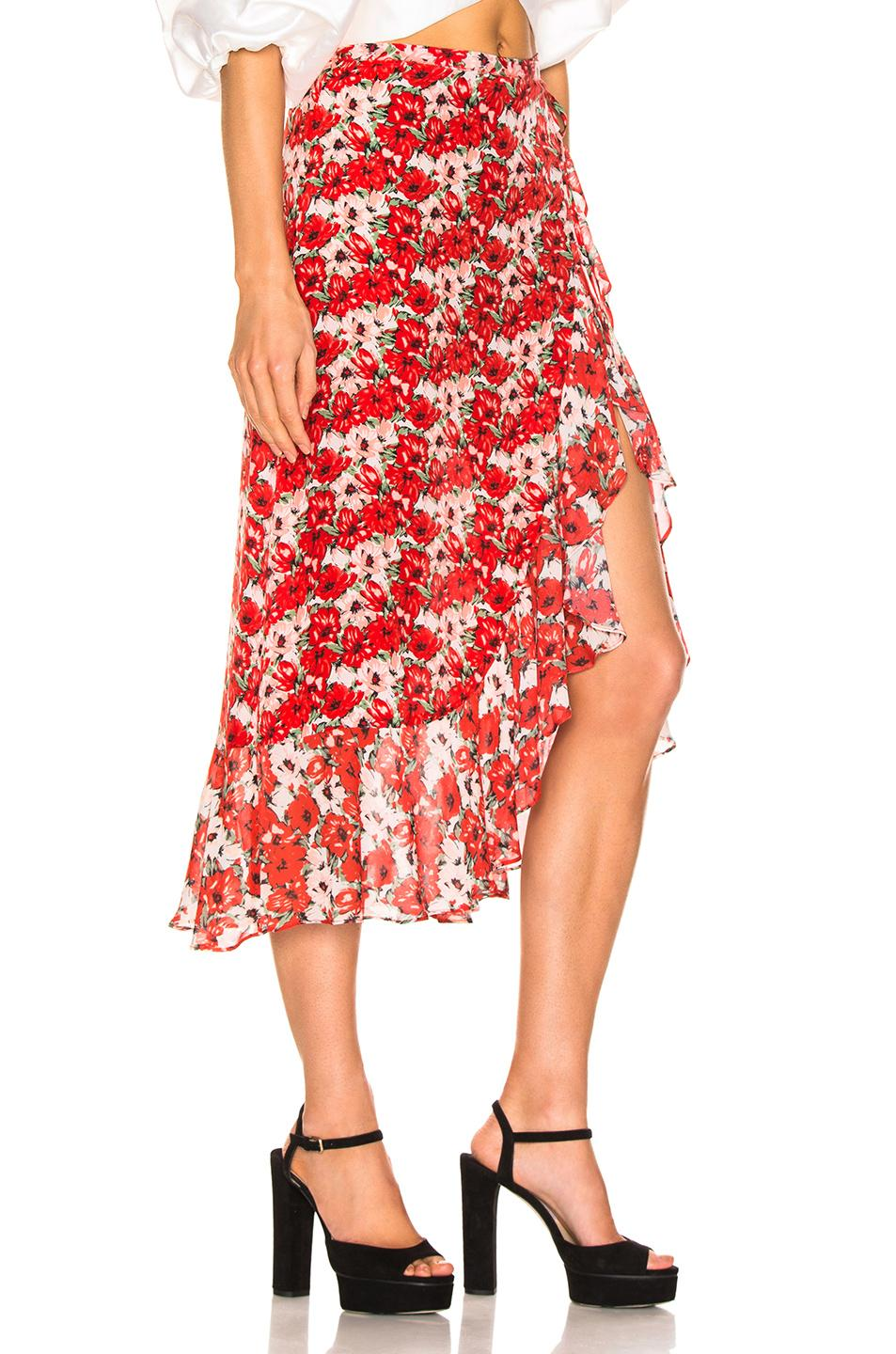 788062654792 Lyst - RIXO London Gracie Skirt in Red