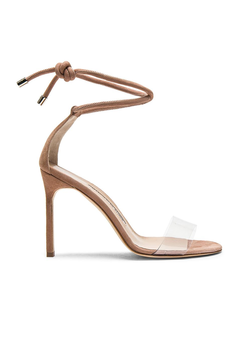 b2b2229174c Lyst - Manolo Blahnik 105 Suede Estro Sandals in Natural