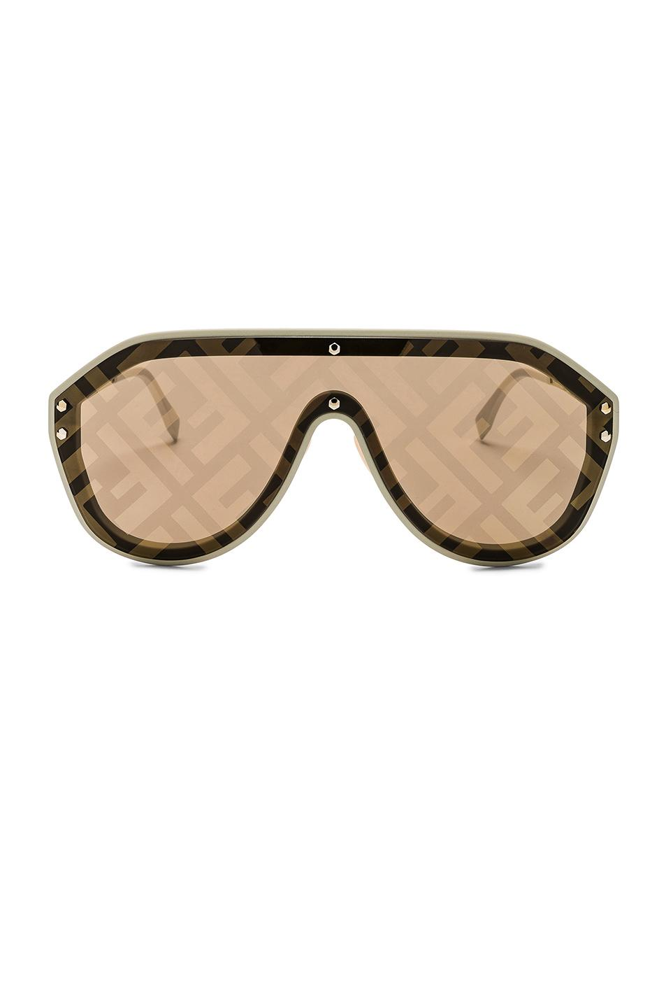 55fa89afd1 Fendi Logo Face Sunglasses in Natural - Lyst