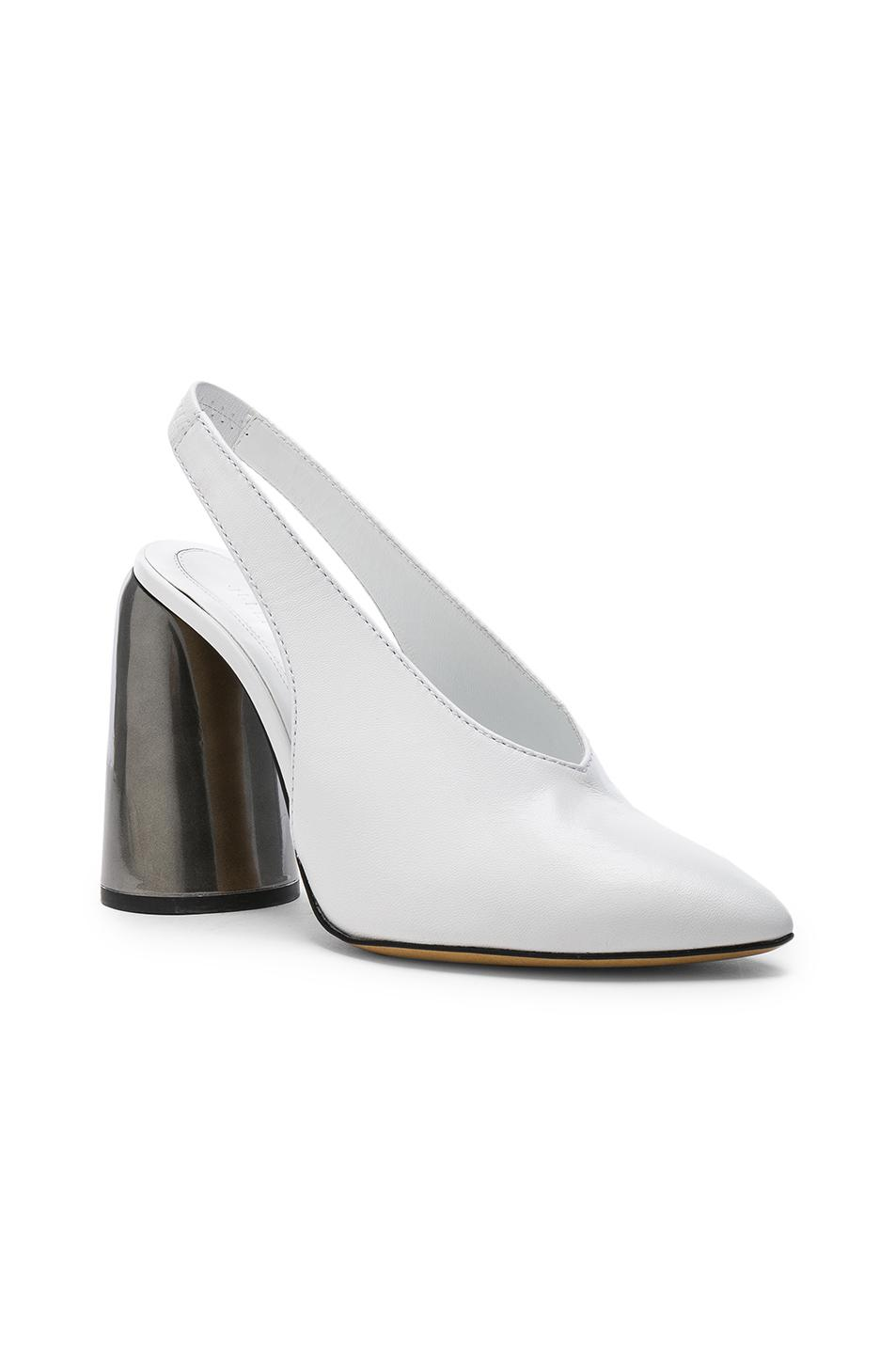 Leather Slingback Pumps - White Ellery