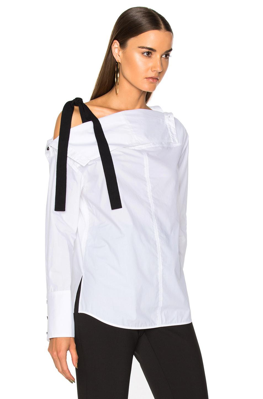 c674390903514 Lyst - Proenza Schouler Cotton Poplin Long Sleeve Off Shoulder Top ...