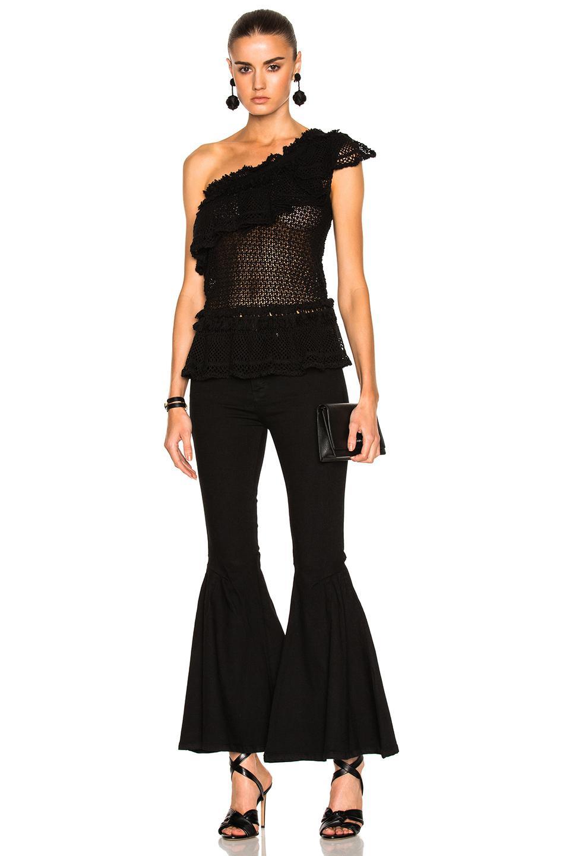 c6392ae6535 Lyst - Jonathan Simkhai Ruffle Crochet Asymmetric Peplum Top in Black