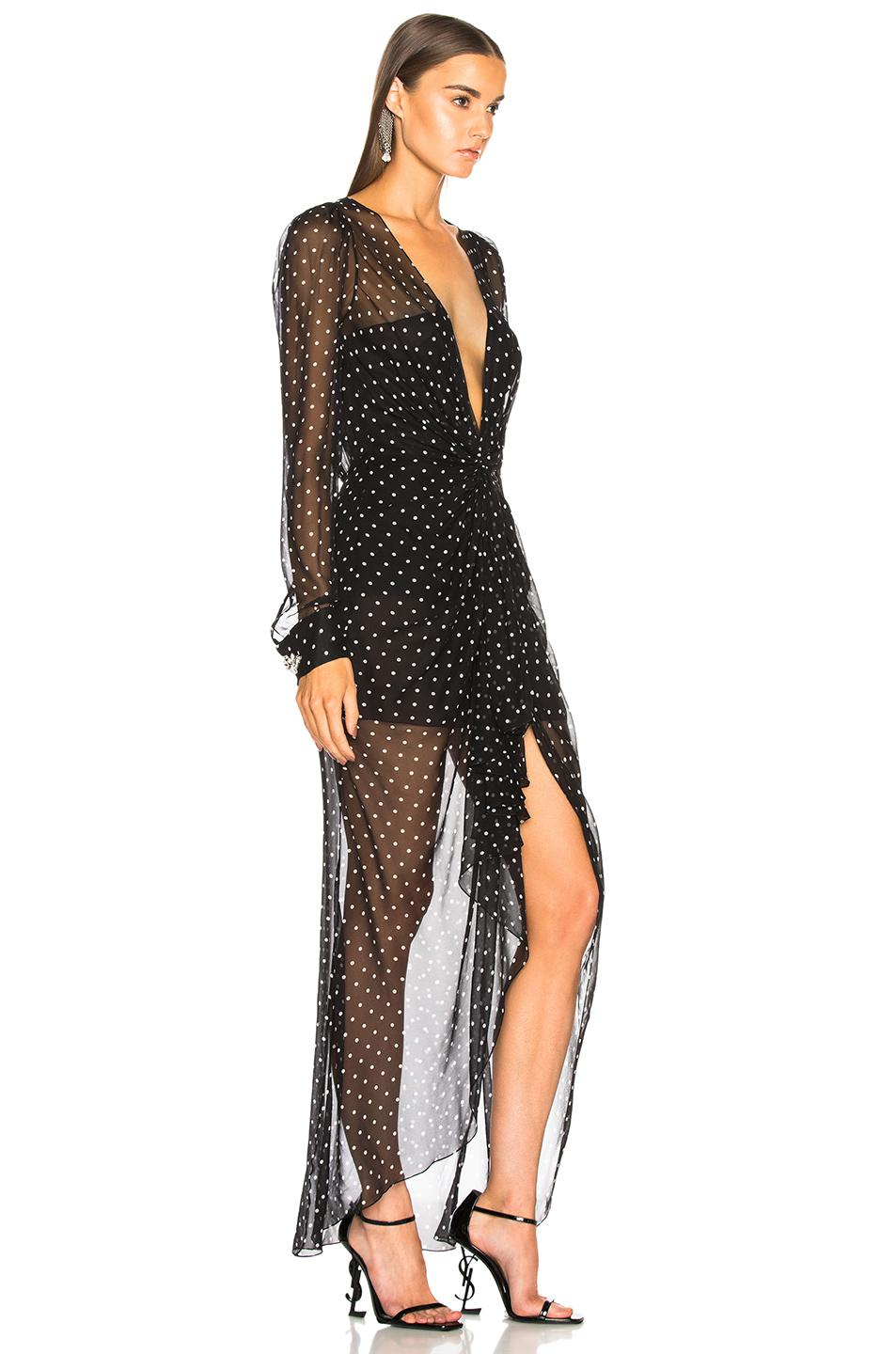 Alexandre Vauthier Silk Dot Print Georgette Plunging Maxi Dress in Black & White (Black)