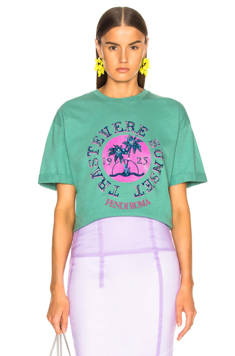 e05ccce0 Fendi Trastevere Sunset Embellished Graphic Tee in Green - Lyst
