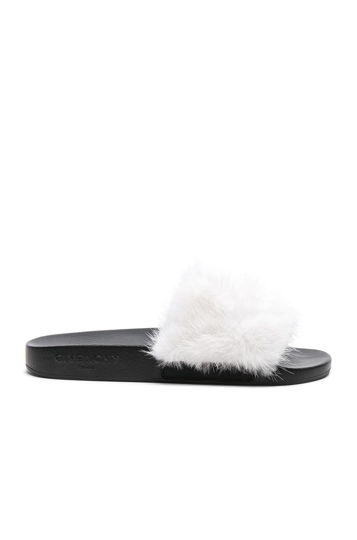 Sandals mink Fur rubber Fur upper Logo black rose Givenchy RiAAtSNKD