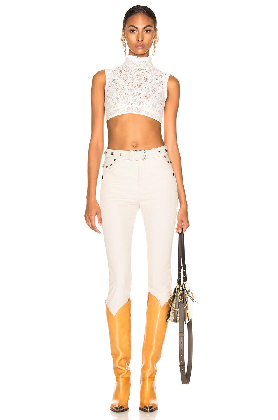 2a659eeee1d4e Chloé - White Lace   Jersey Sleeveless Crop Top - Lyst. View fullscreen