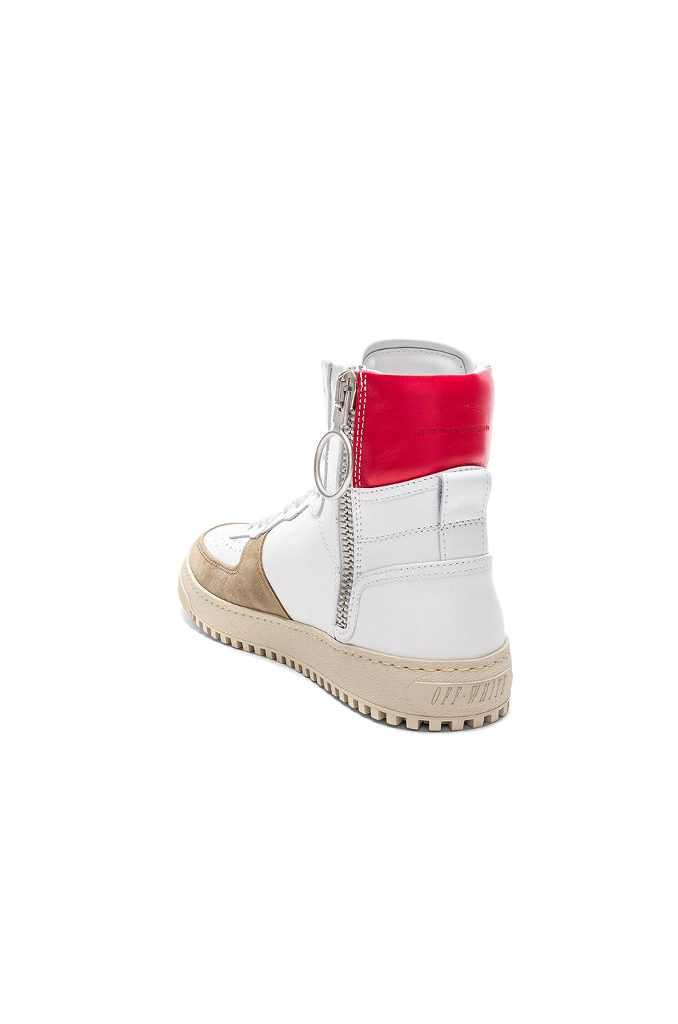 Off-White c/o Virgil Abloh Suede 70s High Top Sneakers in White & Red (White)
