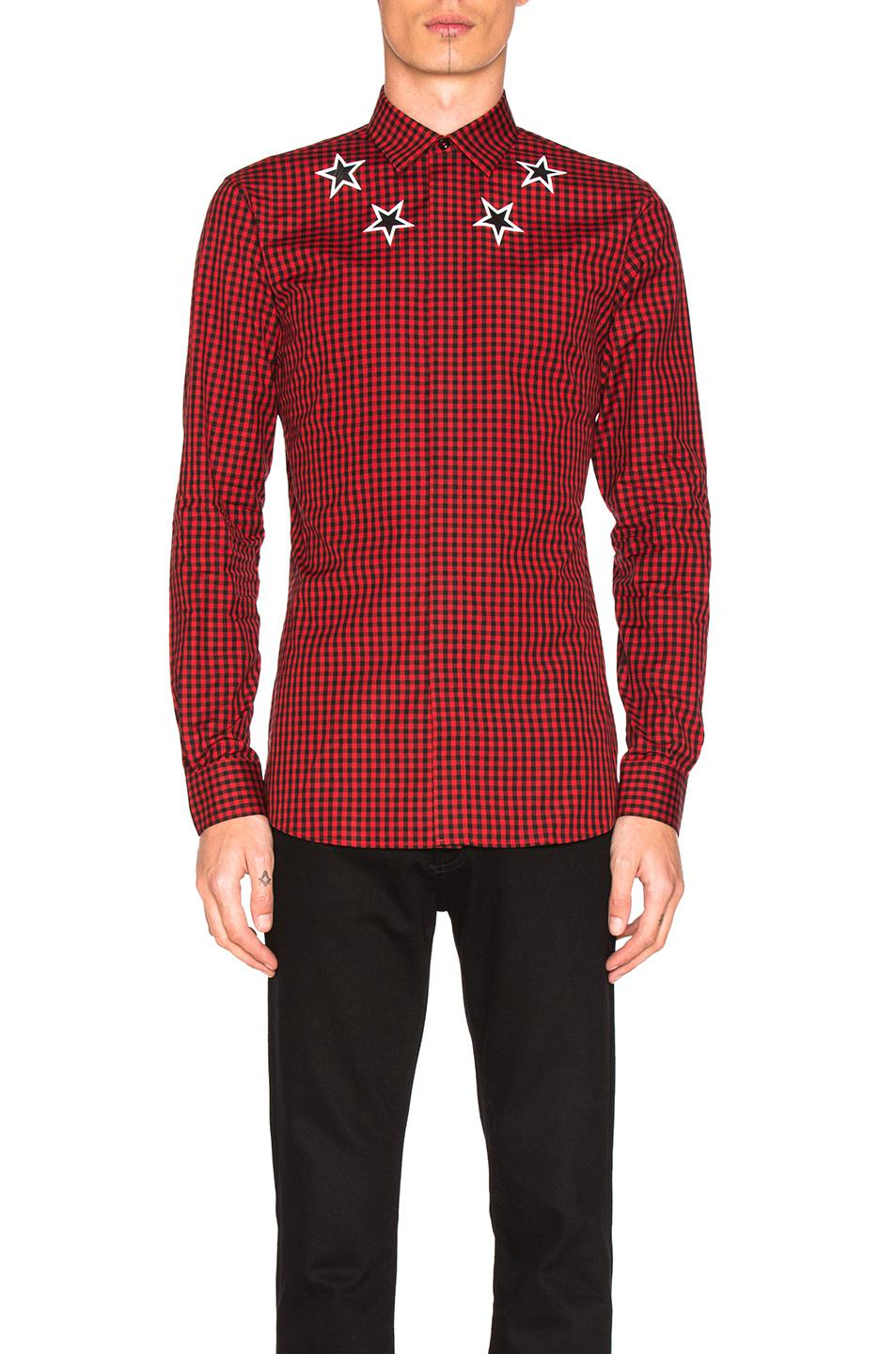 Lyst givenchy checked star shirt in red for men for Givenchy 5 star shirt