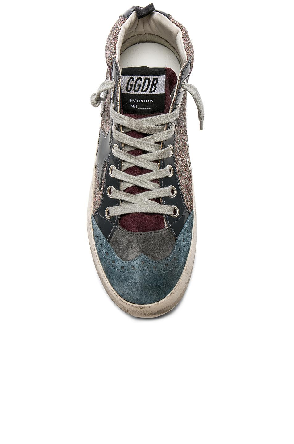 Golden Goose Deluxe Brand Leather Glitter Mid Star Sneakers in Grey