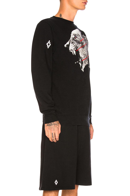 Marcelo Burlon Cotton Sham Crewneck Sweatshirt in Black