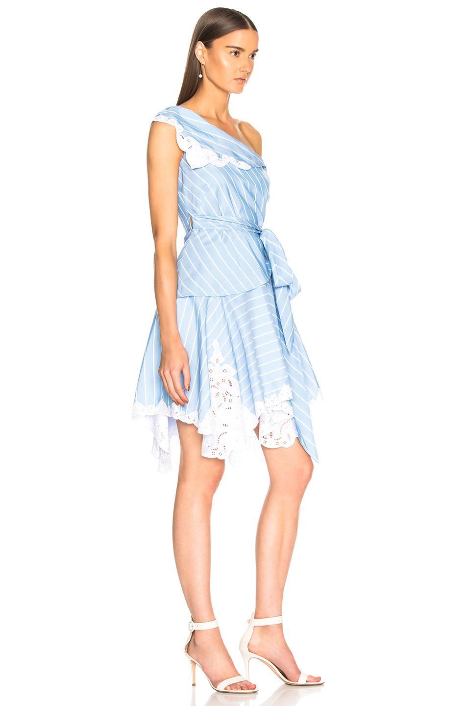 Jonathan Simkhai Cotton Scallop Mini Wrap Dress In White